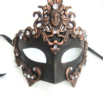 Ornate Venetian style black & copper Baroque Half Mask